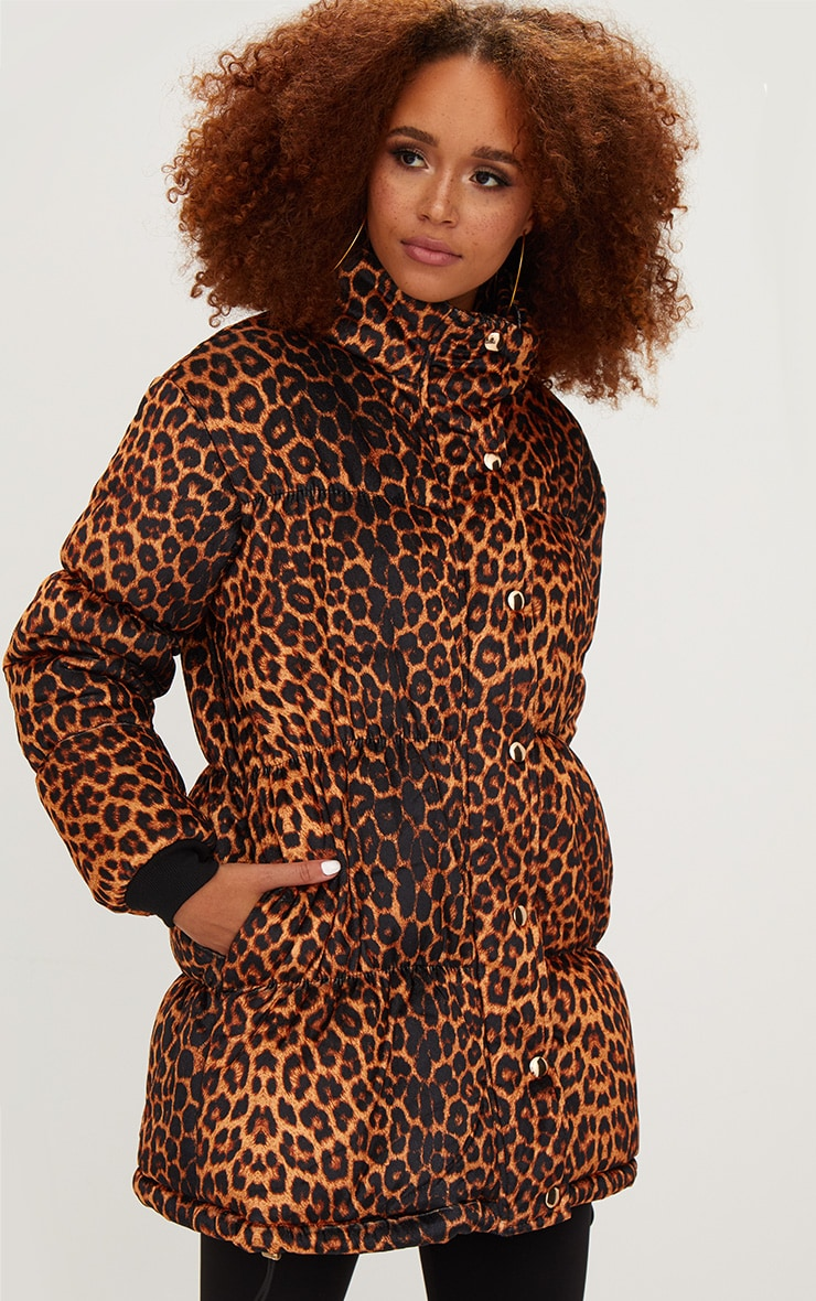 Brown Leopard Velvet Puffer Jacket 1