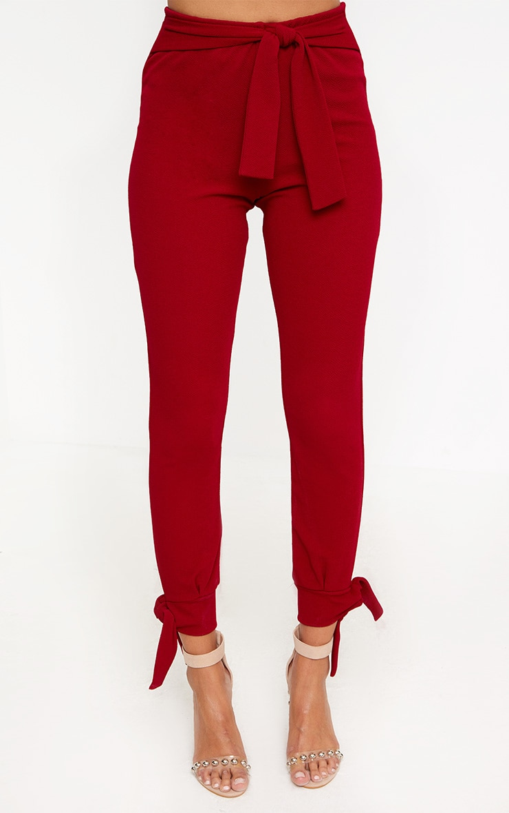 Burgundy Tie Detail Fitted Trousers 2