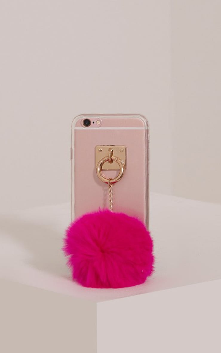 Pink Iphone 6 Pom Pom Detail Phone Case 1