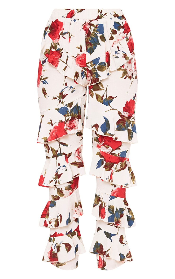 Cream Tiered Frill Floral Trousers 3