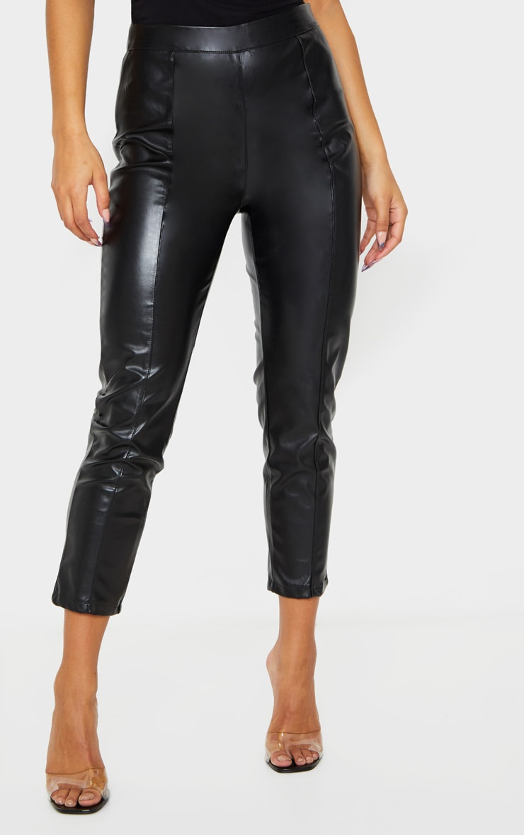 Daysha Black Cropped Faux Leather Trousers 2