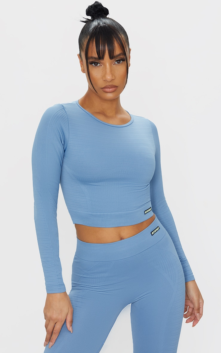 Blue Seamless Linear Textured Cropped Gym Top 1