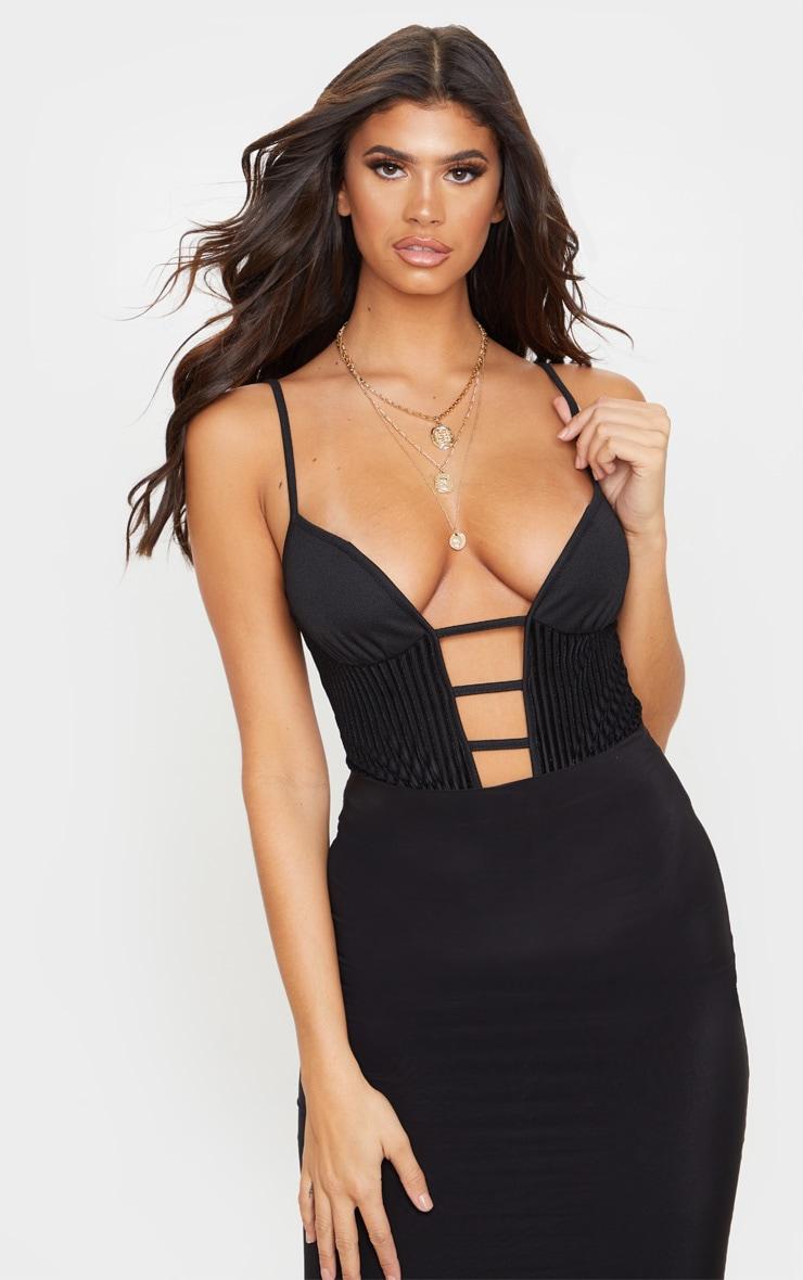 Black Velvet Rib Bust Detail Bodysuit 1