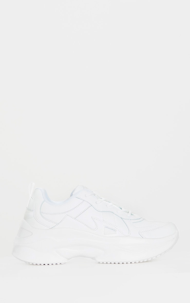 White PU Chunky Bubble Sole Trainers 3