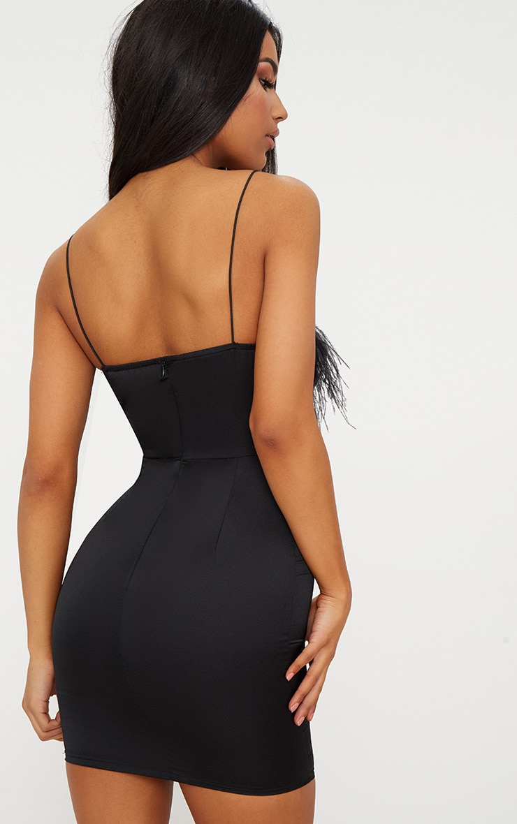 Black Strappy Satin Feather Trim Bodycon Dress 2