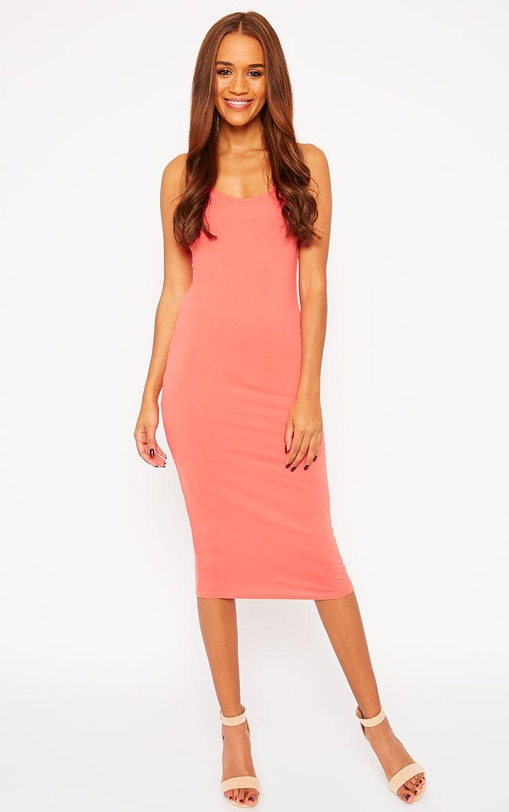 Basic Coral Midi Dress 1