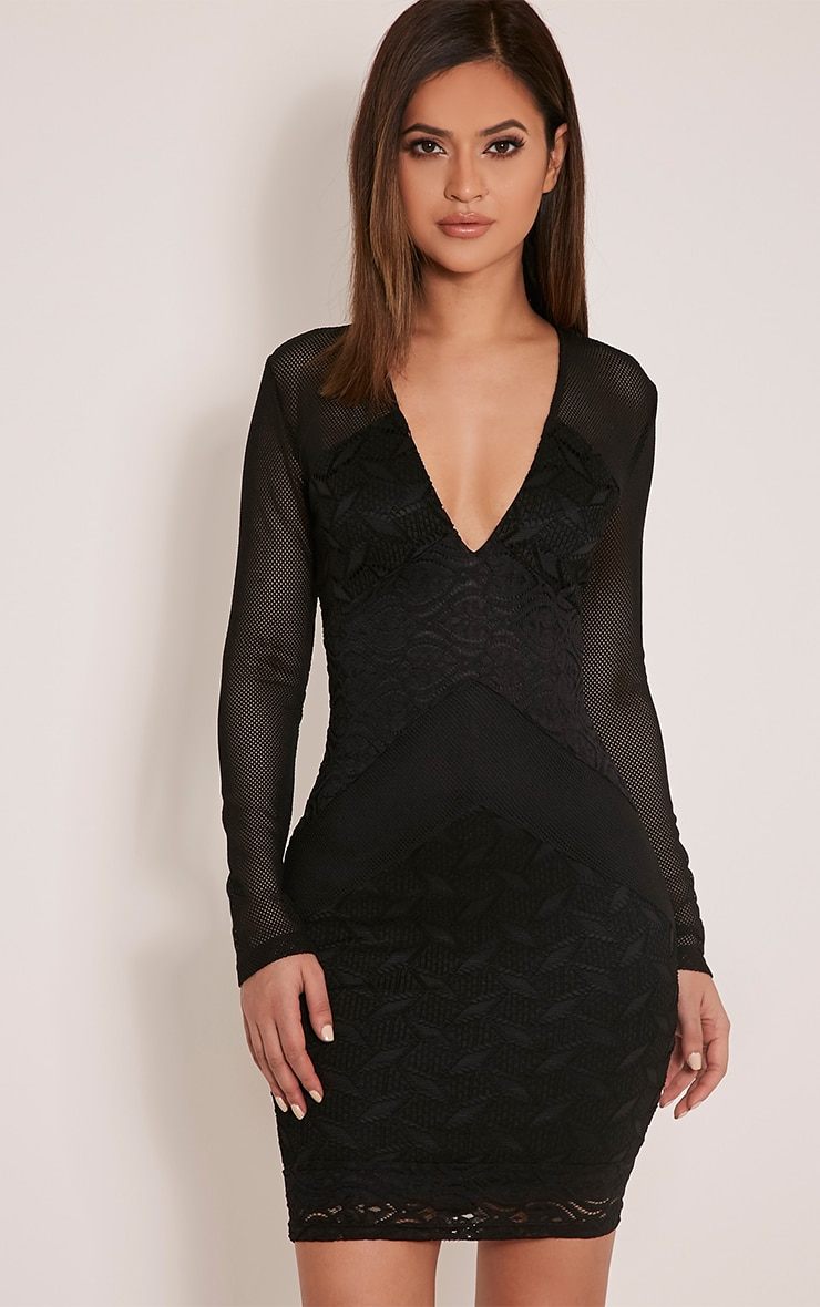 Harley Black Lace Insert Bodycon Dress 1
