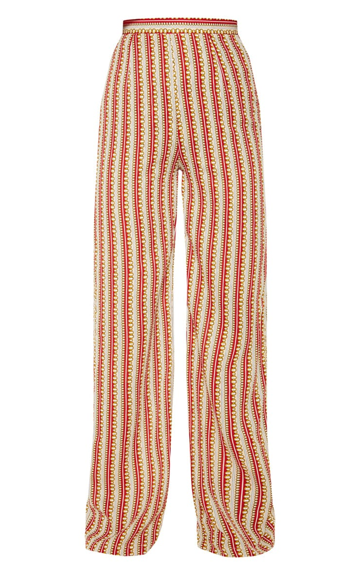 Red Chain Print Wide Leg Pants 3