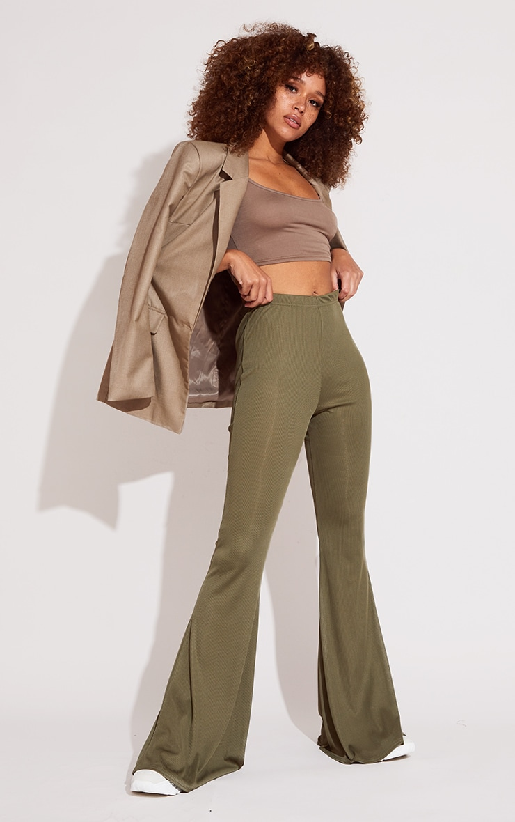 Khaki Rib Flared Trousers 1