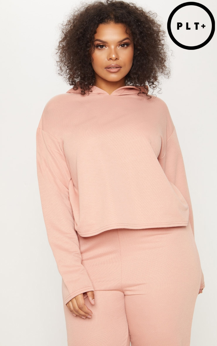 Plus Dusty Coral Oversized Cropped Hoodie 1