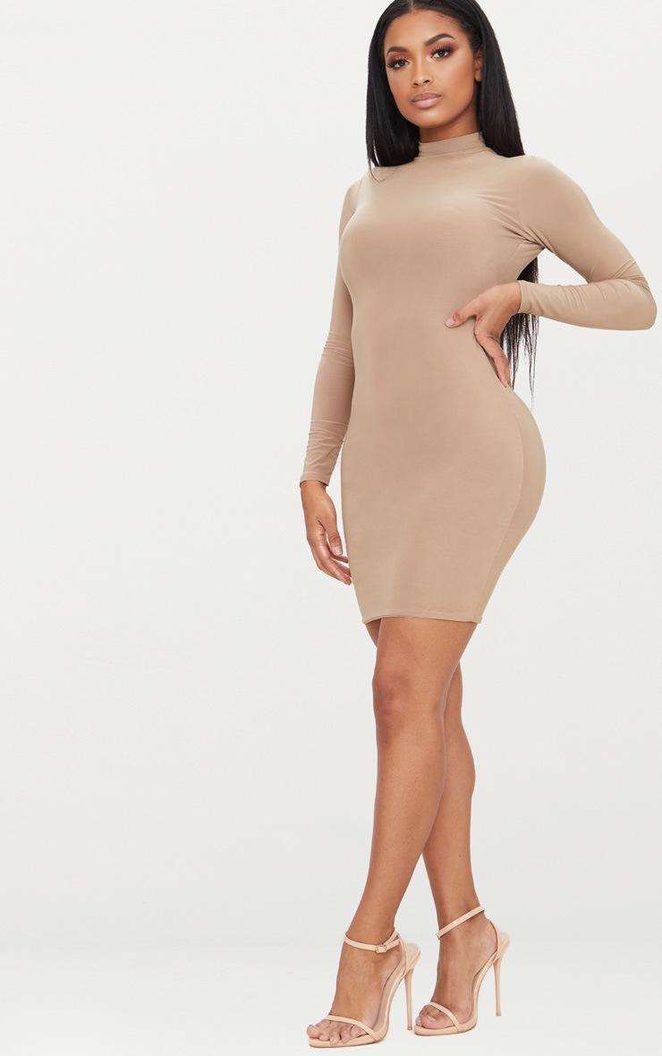 Shape Camel Slinky High Neck Bodycon Dress 4