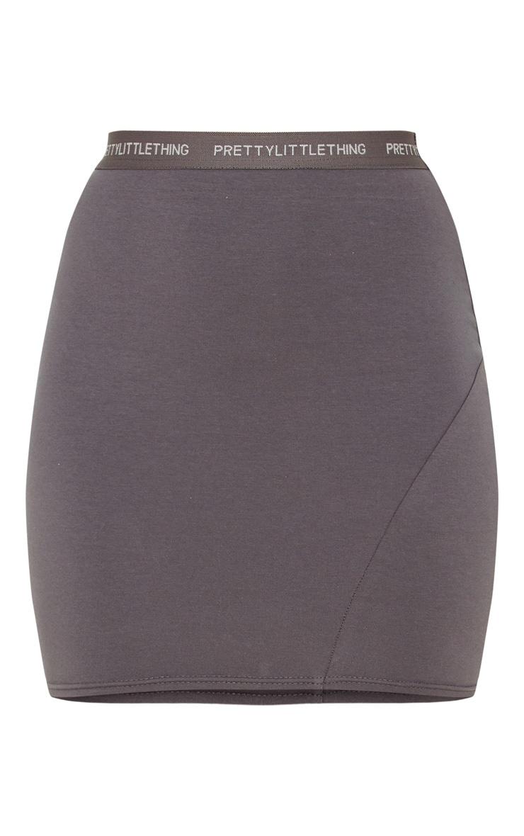 PRETTYLITTLETHING Lead Grey Tape Jersey Mini Skirt 3