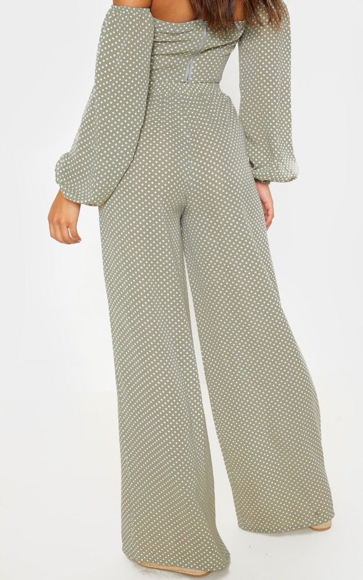 Sage Green Polka Dot High Waisted Wide Leg Trouser 4