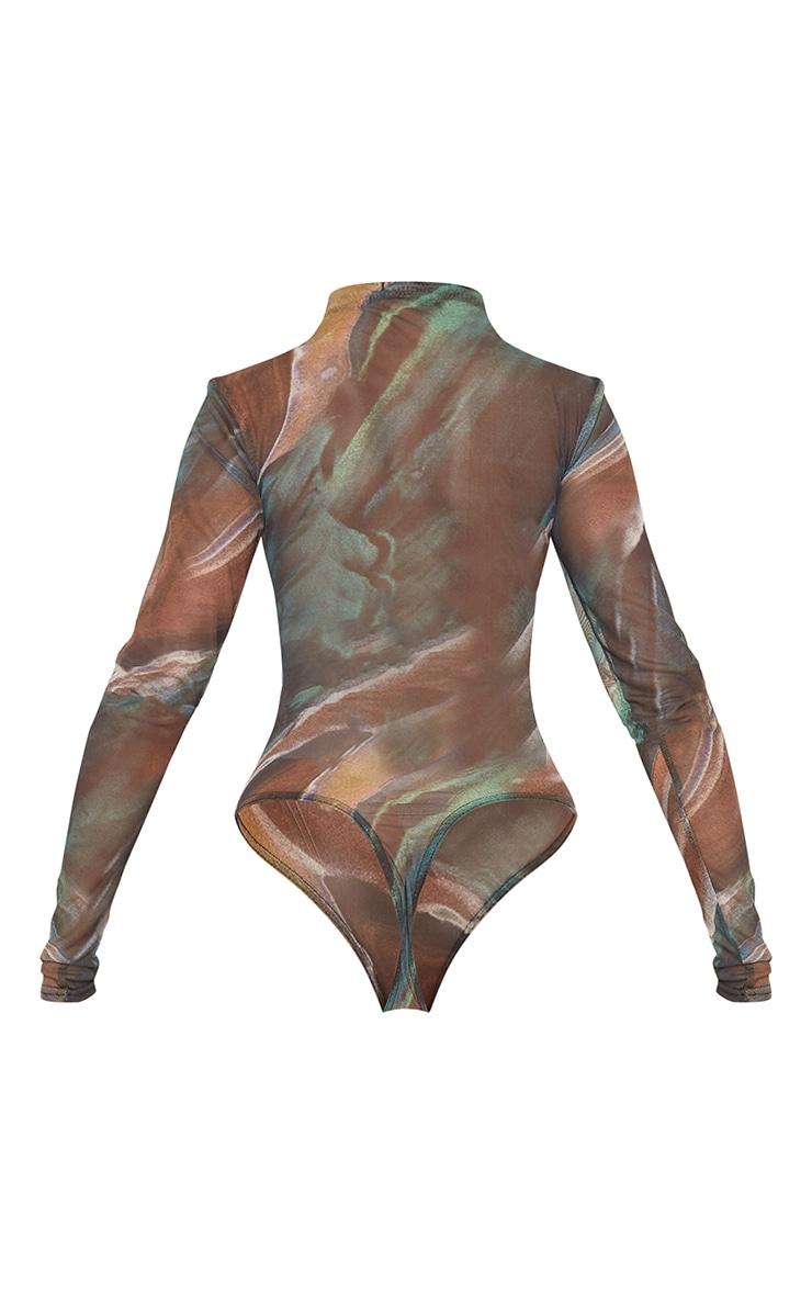 Green Swirl Printed Sheer Mesh High Neck Long Sleeve Bodysuit 6