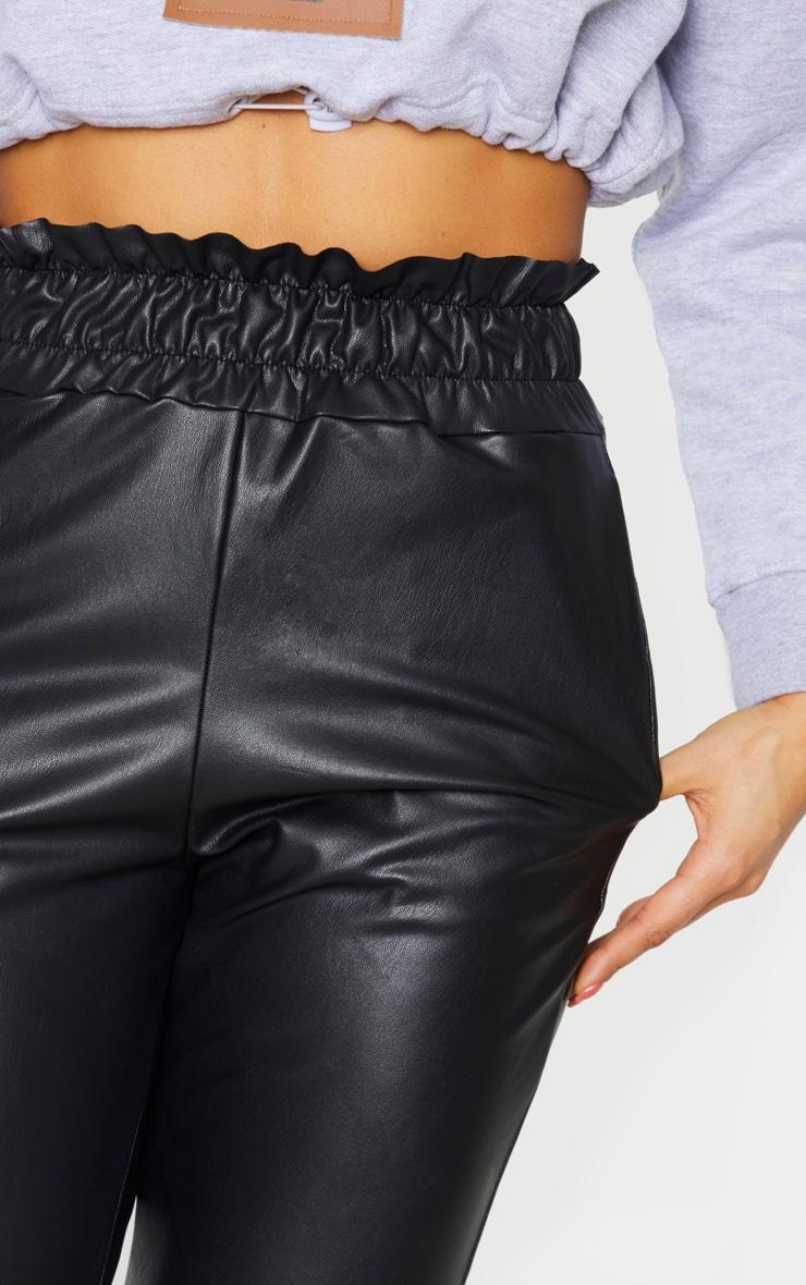 Tall - Legging en similicuir noir à taille froncée 4