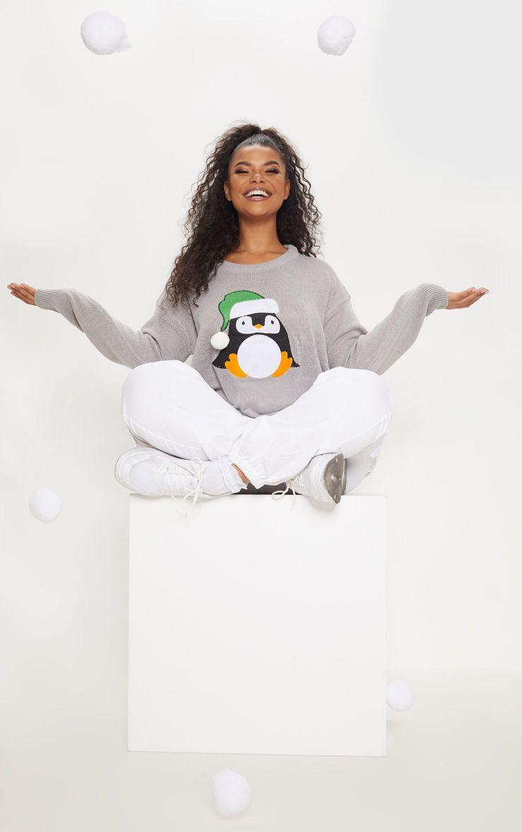 Plus Grey Penguin Pom Pom Sweater 1