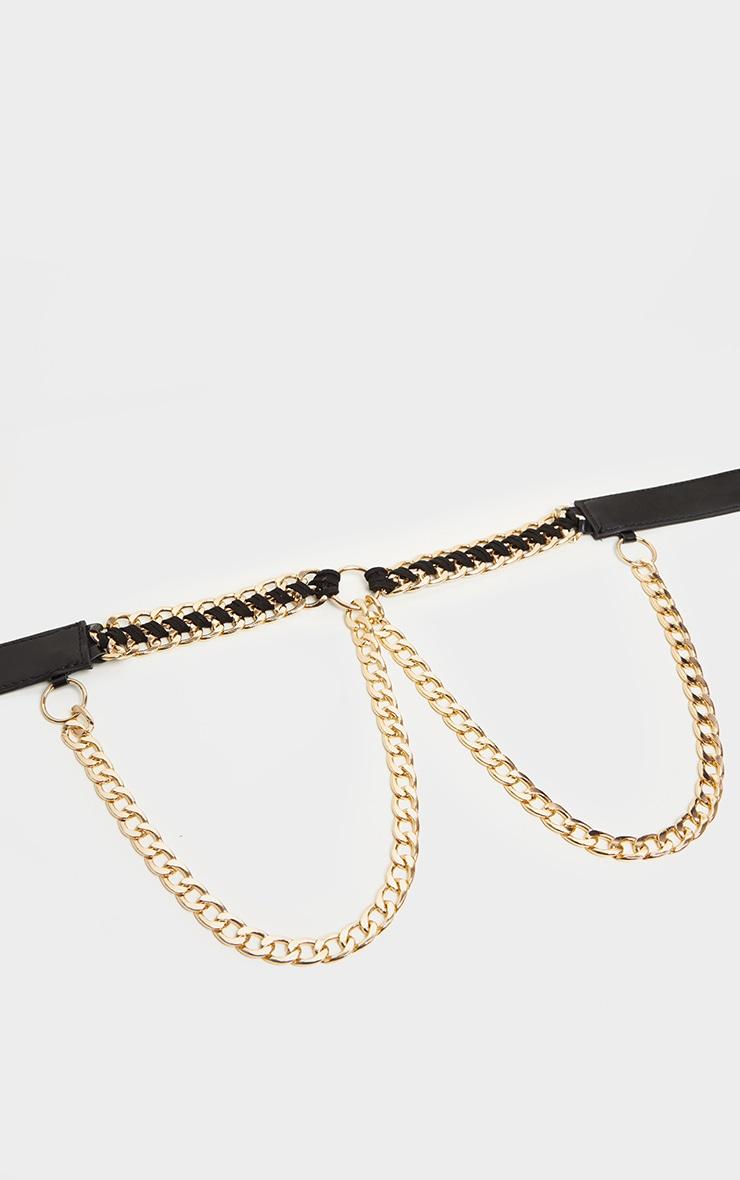 Black Pu Gold Chain Waist Belt 2
