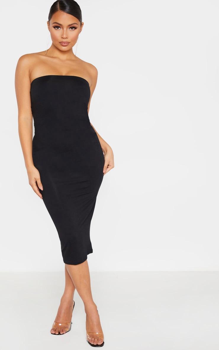 Petite Black Bandeau Jersey Midi Dress 1