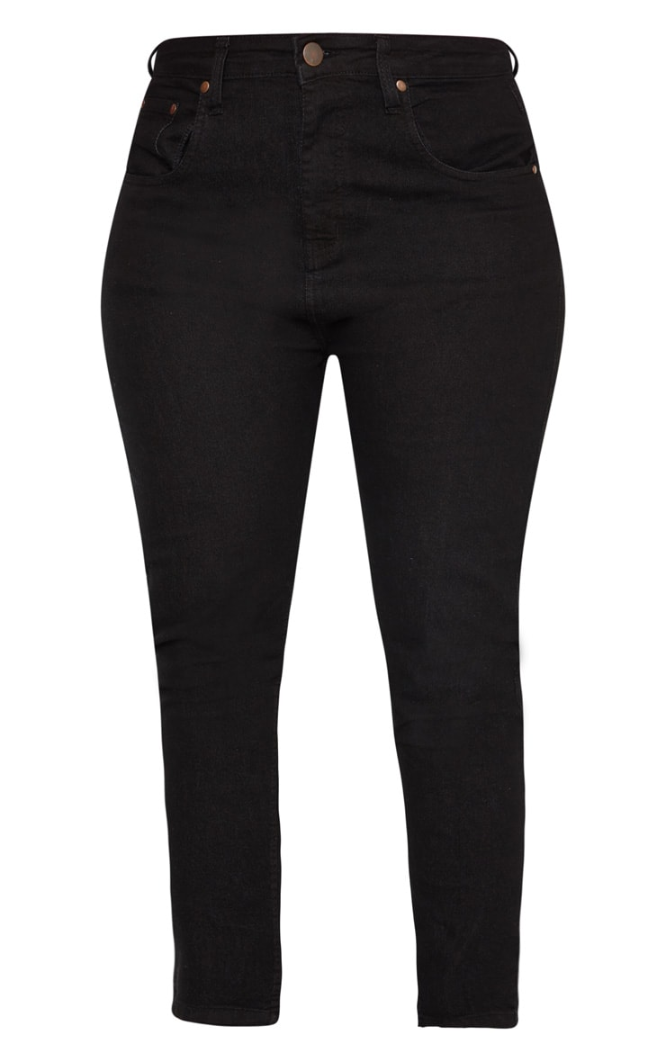 Plus Black Straight Leg Seam Detail Jean  3