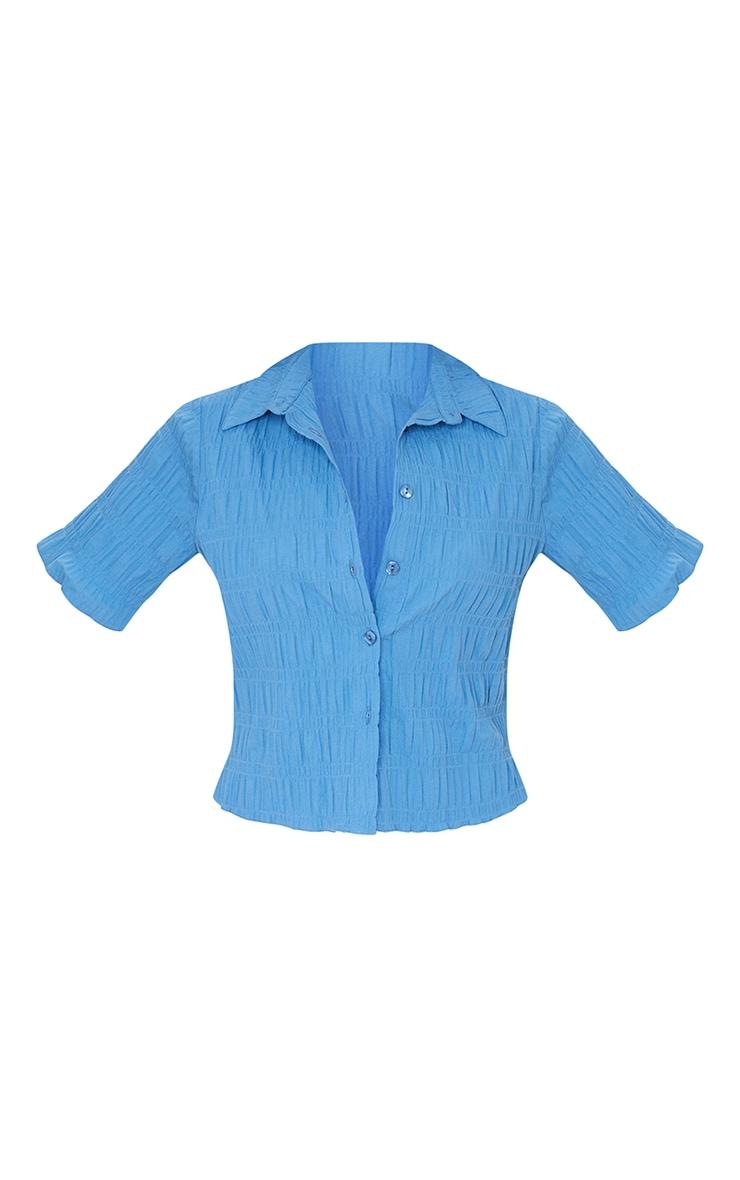 Blue Shirred Short Sleeve Shirt 5