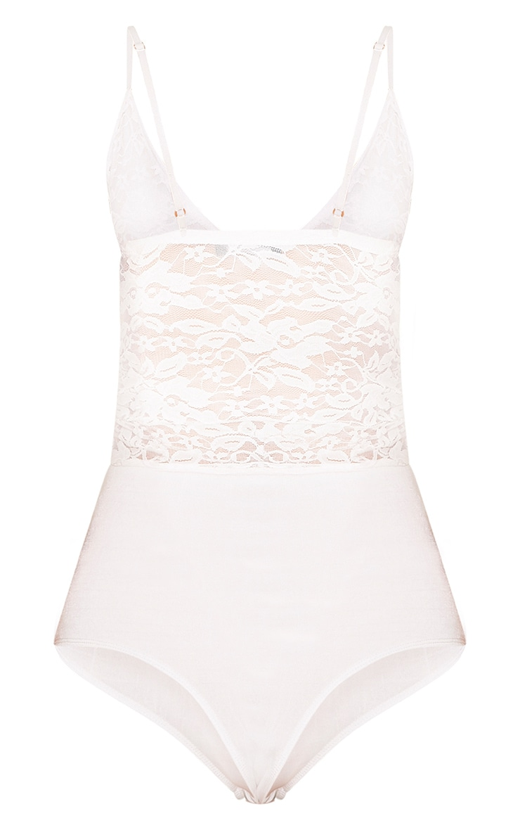 Lilah Cream Sheer Lace Ruched Strappy Thong Bodysuit 4