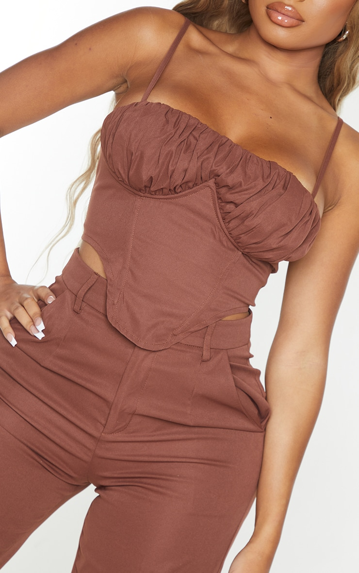 Shape Chocolate Brown Cargo Ruched Underbust Corset 4