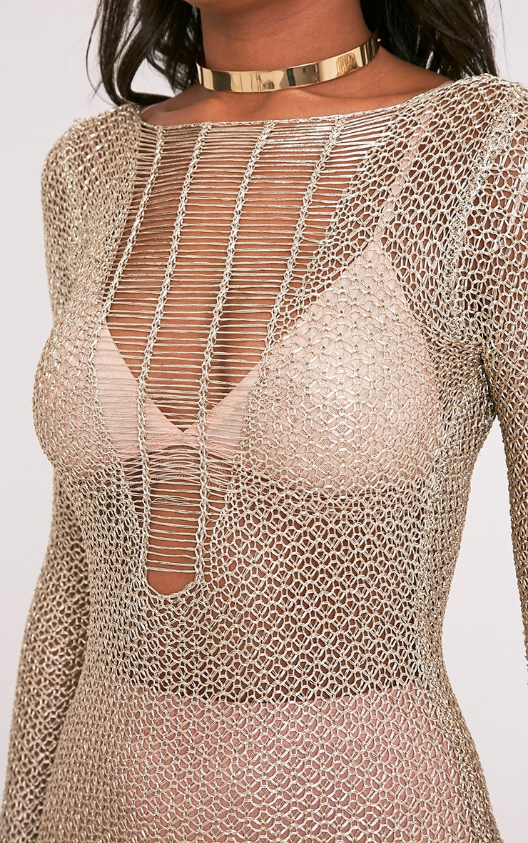 Kay Petite Gold Metallic Knitted Mini Dress 6
