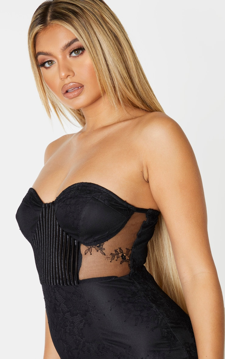 Black Lace Bandeau Velvet Insert Midi Dress 5