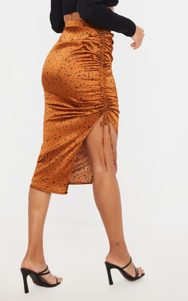 Rust Satin Printed Ruched Side Midi Skirt 3
