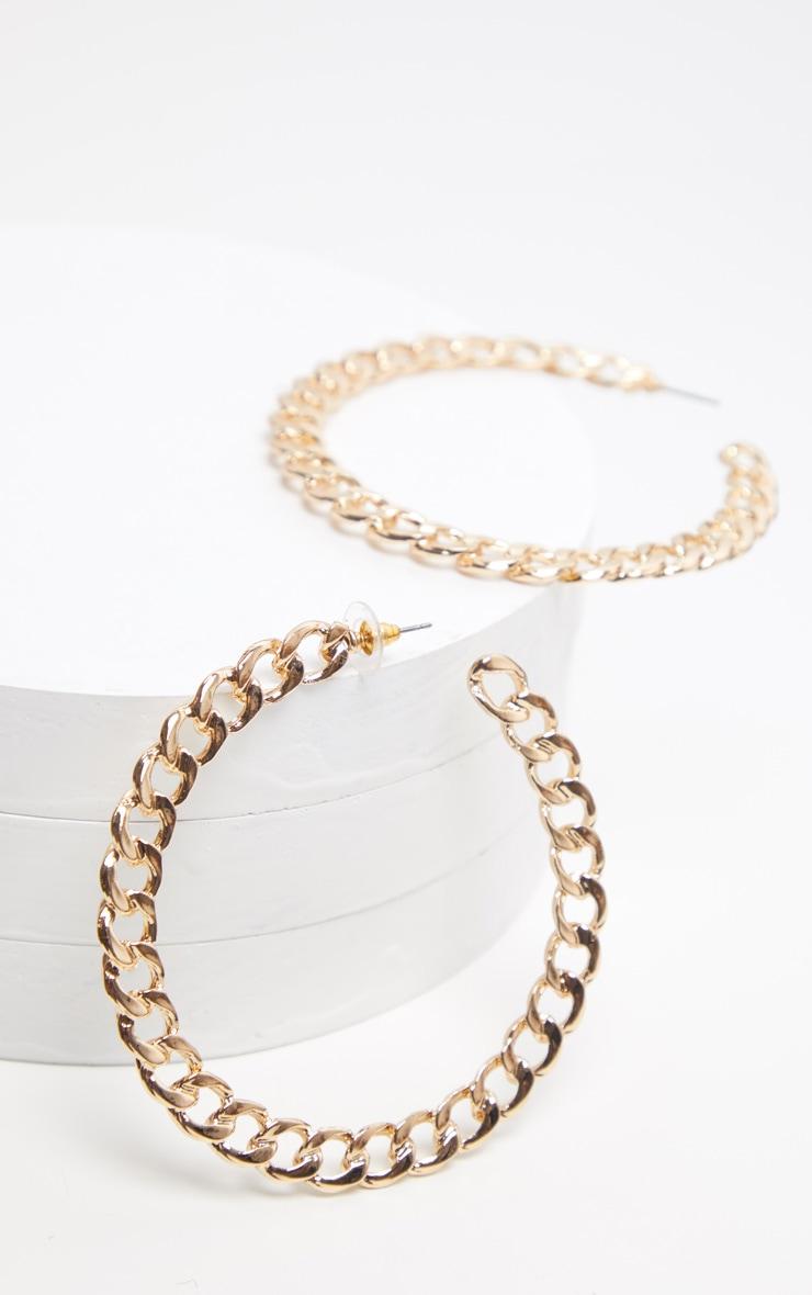 Gold Chunky Chain Large Hoop Earring 2