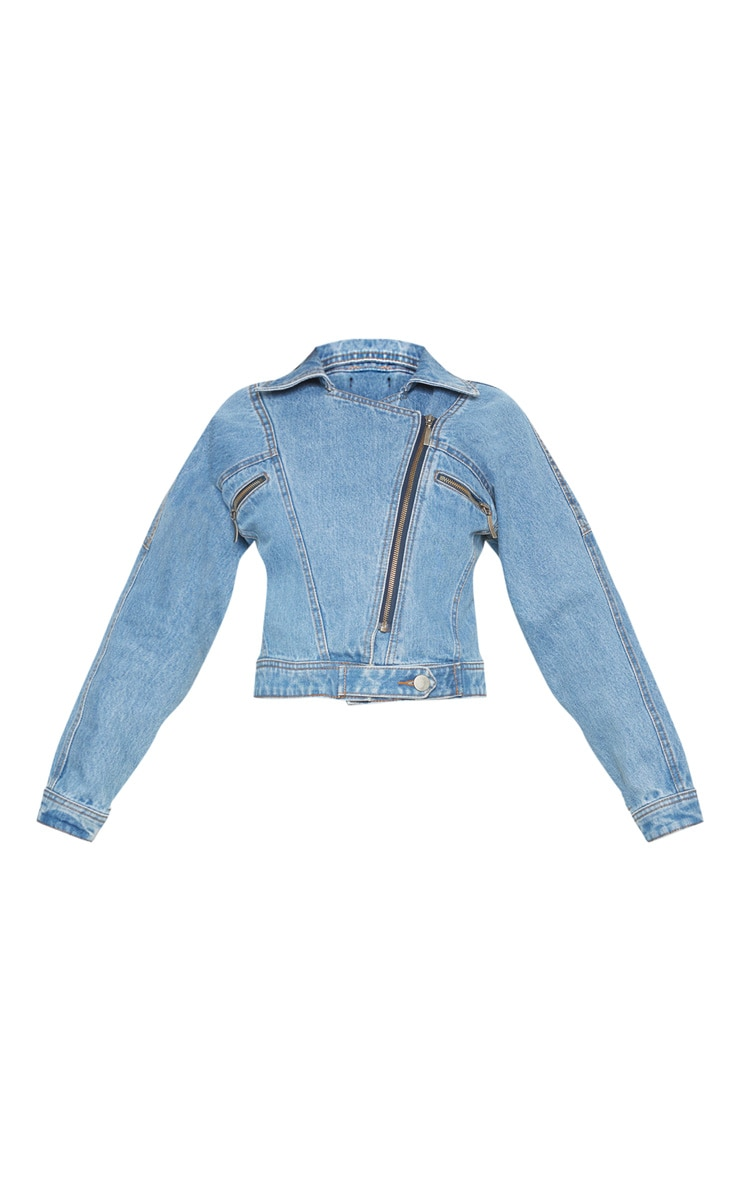Mid Wash Denim Biker Jacket 3