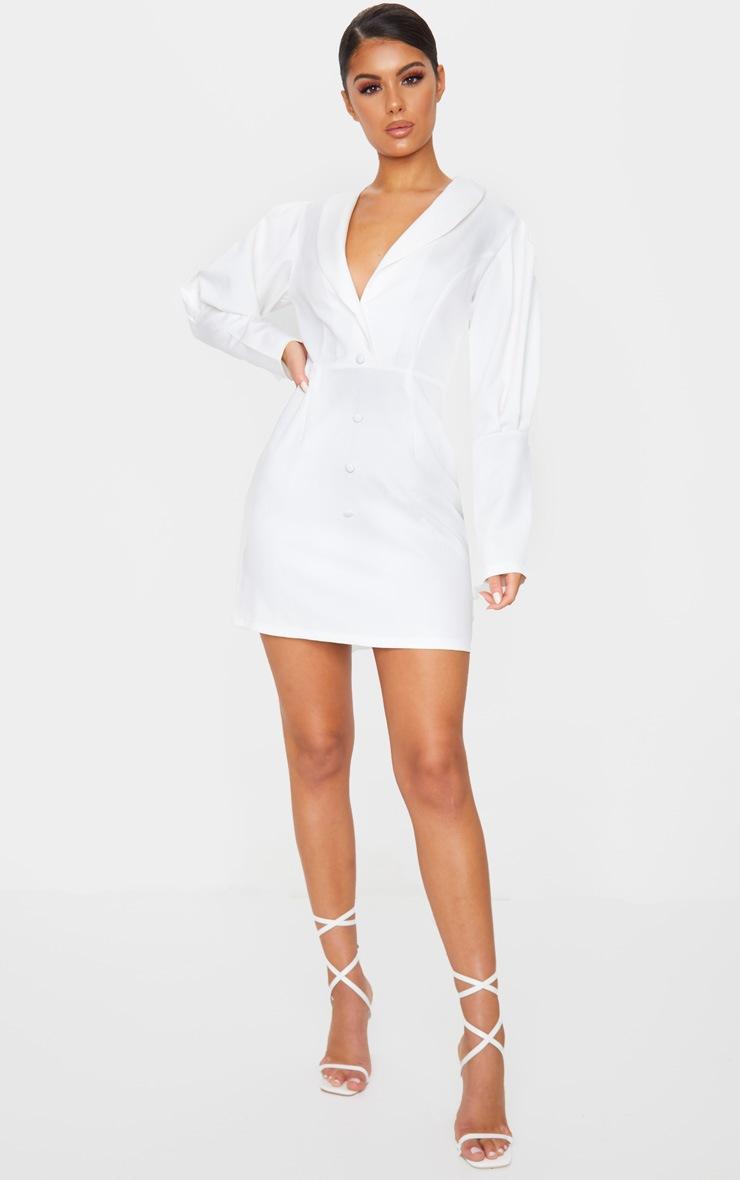 White Puff Sleeve Button Detail Blazer Dress 2