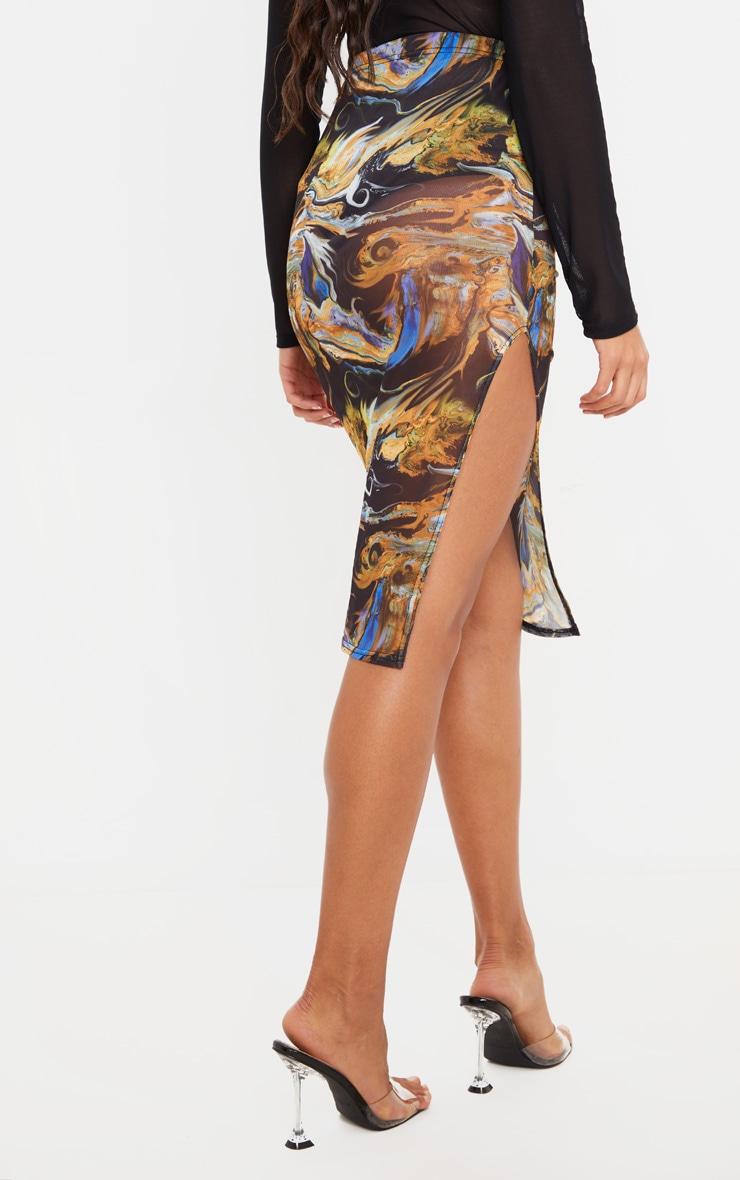 Black Marble Print Mesh Midi Skirt 4