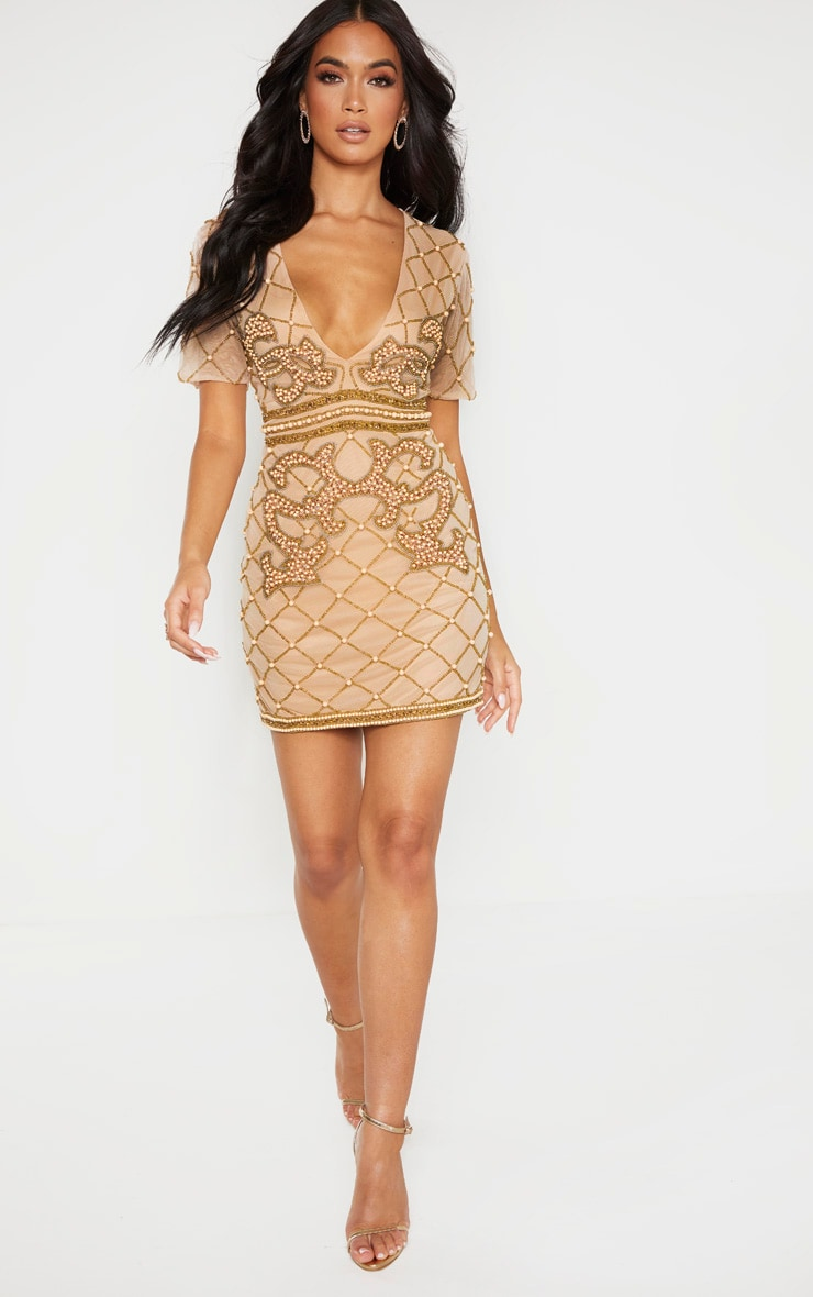 Nude Embellished Beaded Plunge Bodycon Dress 4