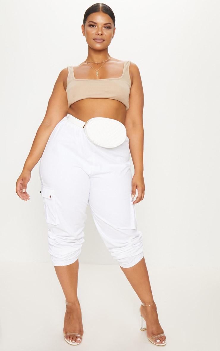 Plus White Faux Leather Bum Bag 2