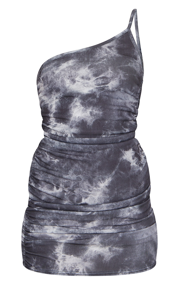 Black Tie Dye Ribbed One Shoulder Ruched Bodycon Dress 5