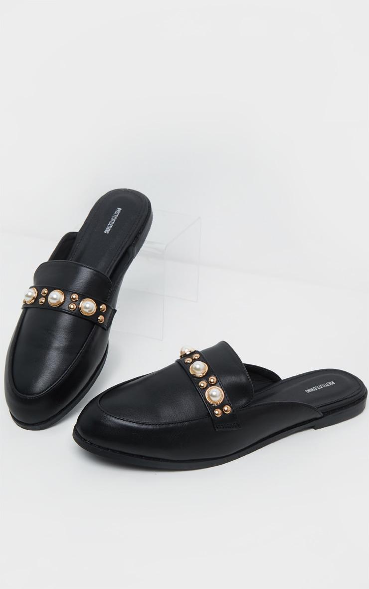 Mules plates noires à perles  3