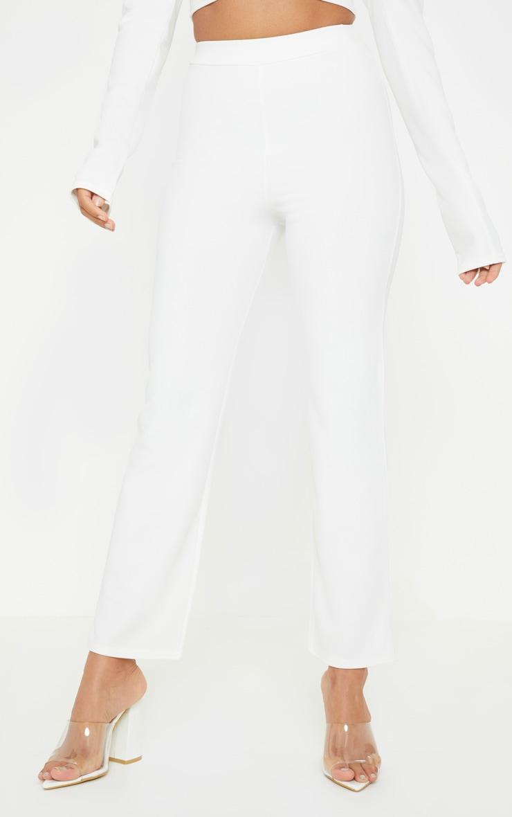 Petite White Kick Flare Pants 2