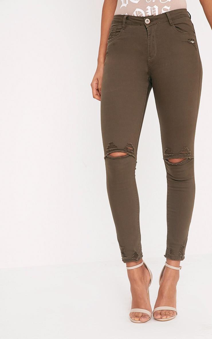 Honesty Khaki Knee Rip Cut Hem Skinny Jean 2