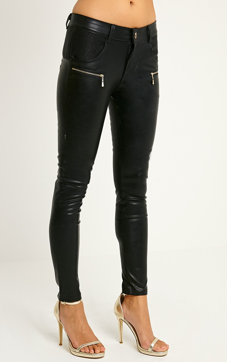 Madden Black Zip Pocket PU Trousers 3