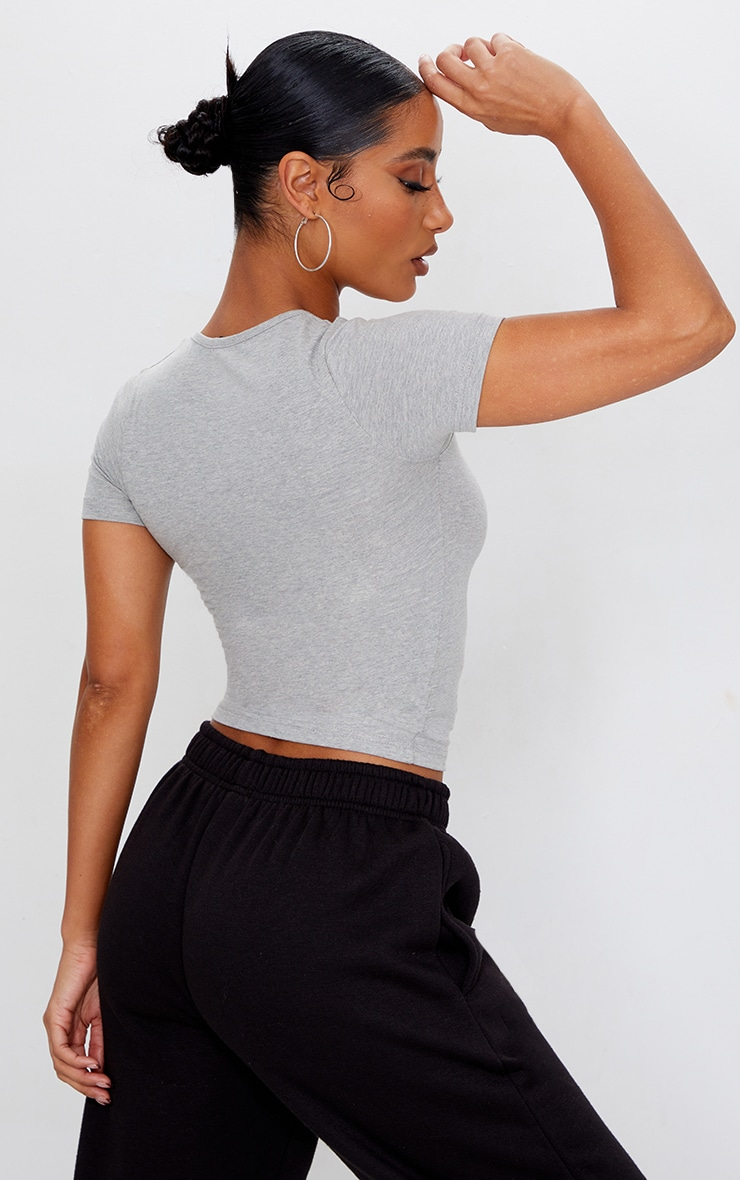 Basic Grey  Fitted Scoop Neck T Shirt 2