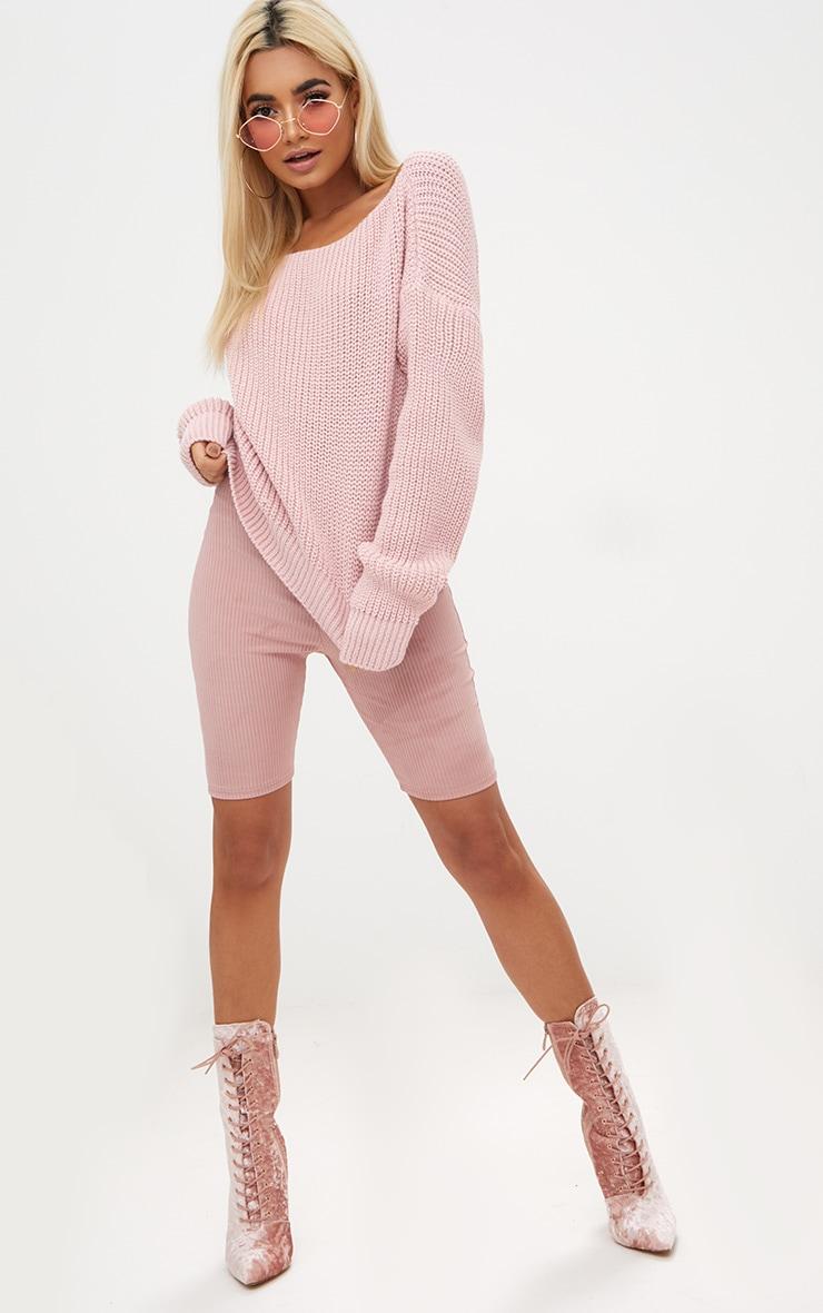 Dusty Pink Slash Neck Crop Jumper 4
