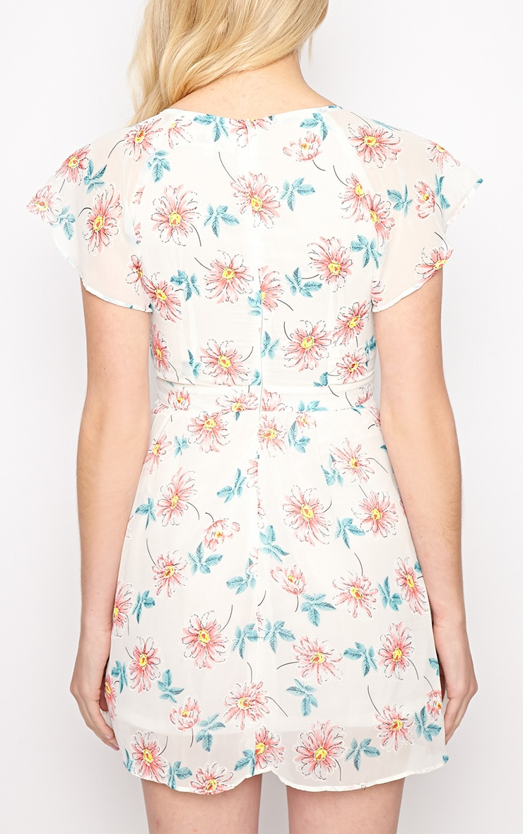 Greta White Floral Cut Out Chiffon Dress 2