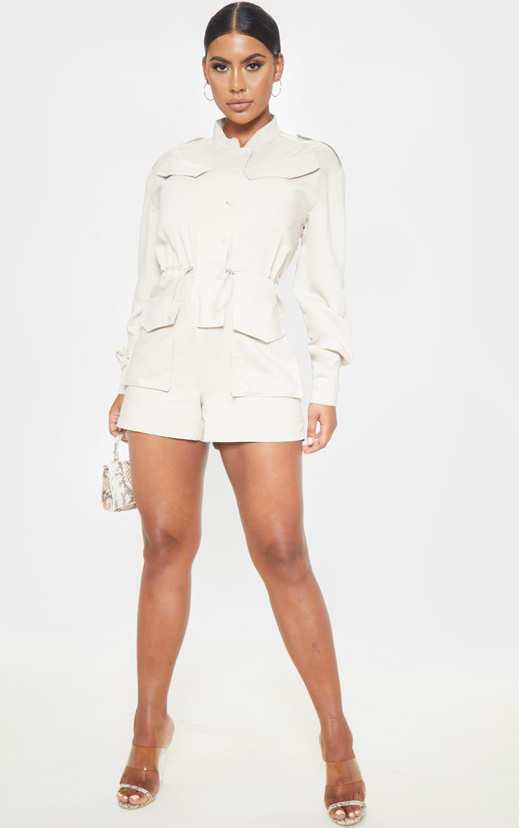 Stone Pocket Detail Utility Style Playsuit 4