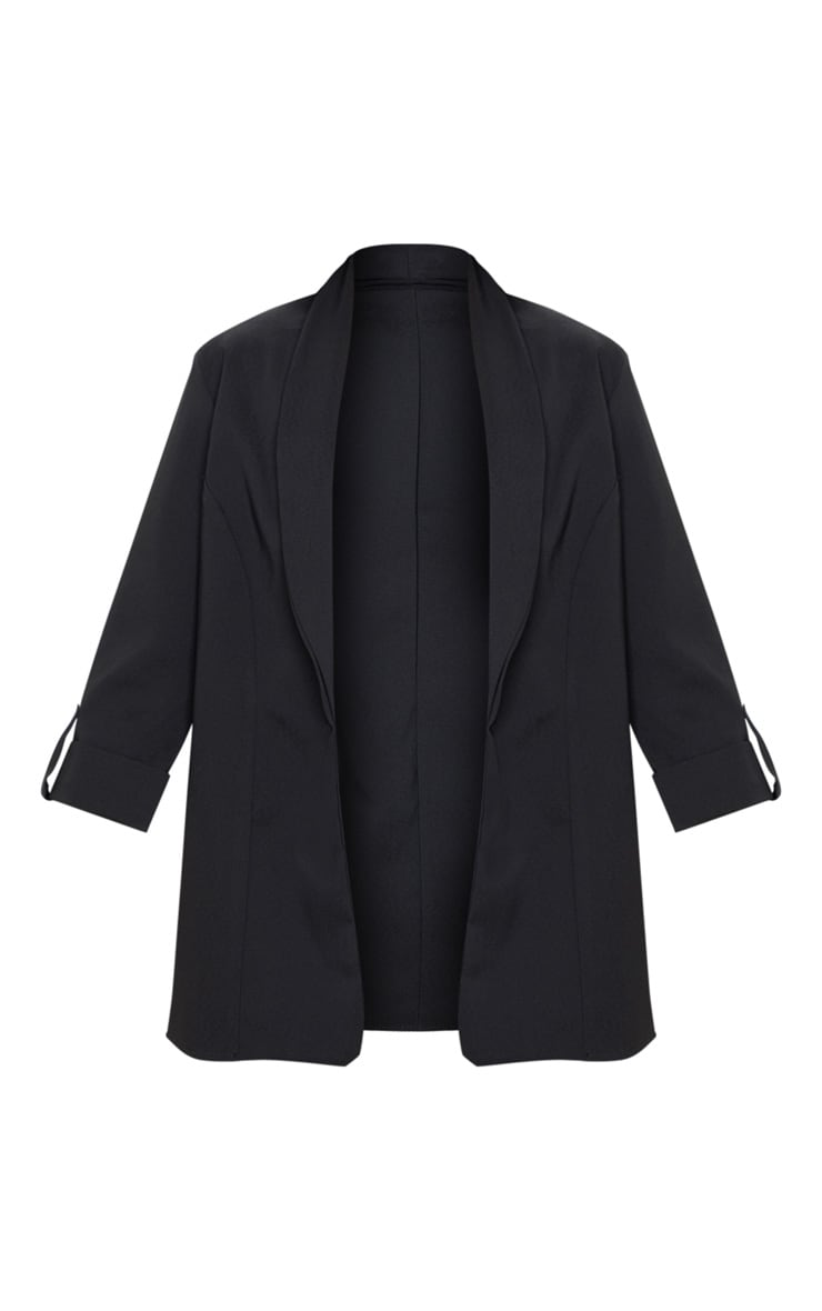 Black Woven Turn Up Sleeve Blazer 3