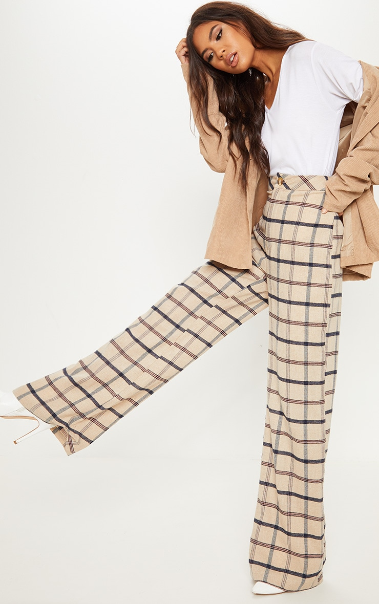 Stone Check Wide Leg Pants 1