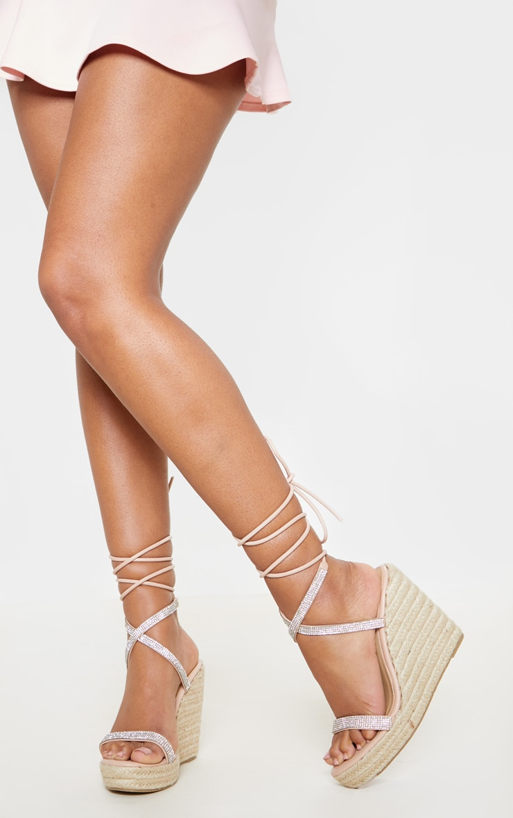 Nude Diamante Lace Up Wedge Sandal 1