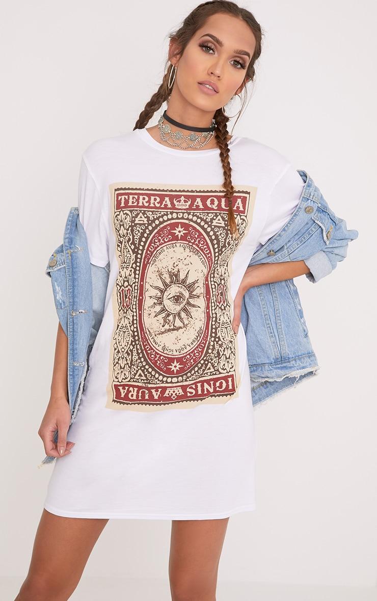 Robe t-shirt blanche imprimé carte de tarot 1