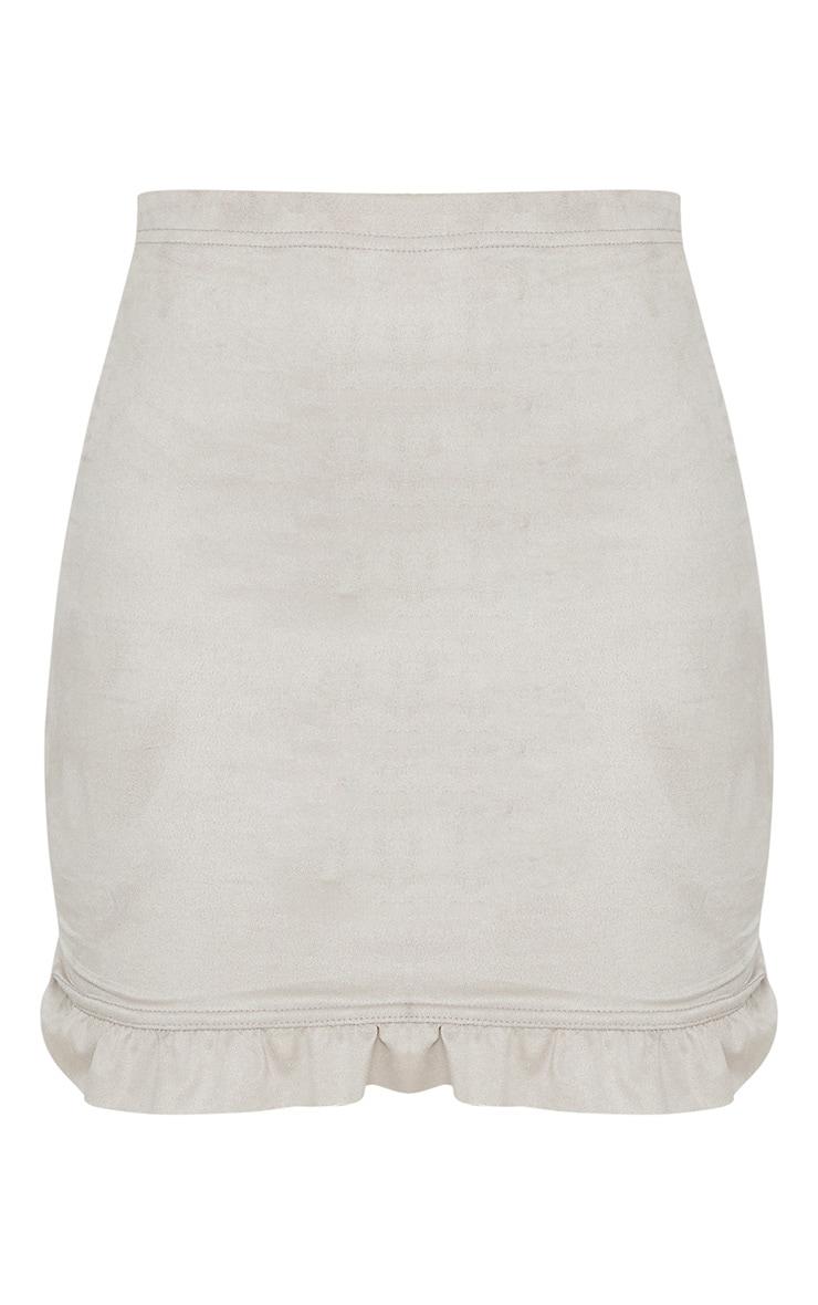 Grey Faux Suede Frill Hem Mini Skirt  3