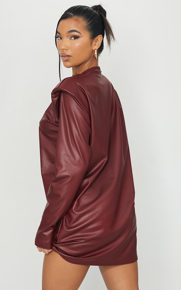 Burgundy Shoulder Pad Detail PU Jumper Dress 2